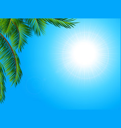 Tropical landscape background with palm tree vector