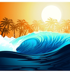 Tropical surfing wave at sunrise with palm trees vector