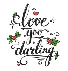 Valentines day greetings card with lettering vector