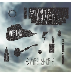 Vape shop icons set vector