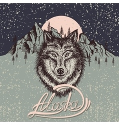 Vintage poster with wolf on the Alaska vector image