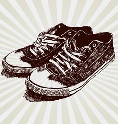 vintage sneakers vector image vector image