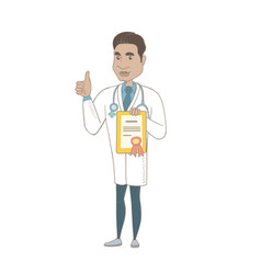 Young hispanic doctor holding a certificate vector