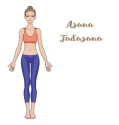 Women silhouette Yoga mountain pose Tadasana vector image