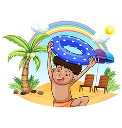 A young boy enjoying at the beach vector