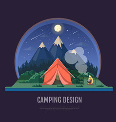 Flat style design of mountains landscape and vector