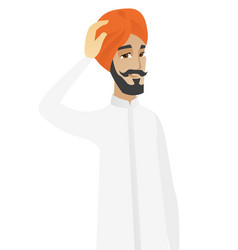 Young hindu businessman scratching his head vector