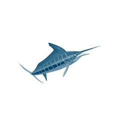Sailfish fish coming up retro vector