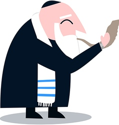 Rabbi with talit blows the shofar vector