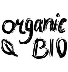 Organic bio hand lettering handmade calligraphy vector