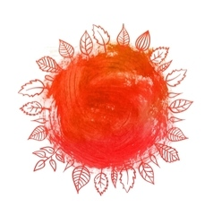 Circle paint stain with leafs vector
