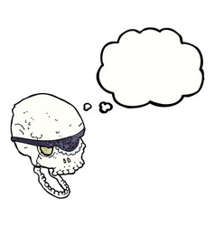 Cartoon spooky skull with eye patch with thought vector