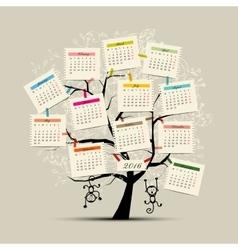 Calendar tree design 2016 with monkey symbol of vector image