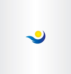 Logo sun and water wave tourism sign icon summer vector