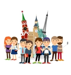 Travel people taking selfie front landmarks vector