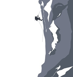 mountain peak hiker adventurer vector image