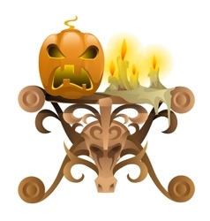 Wooden table with attributes for halloween vector