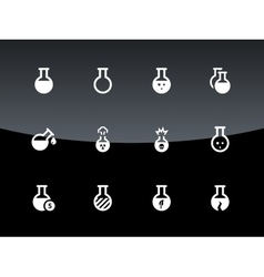 Laboratory bulb icons on black background vector