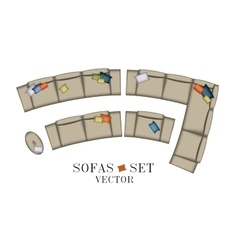 Sofas armchair set top view furniture pouf vector