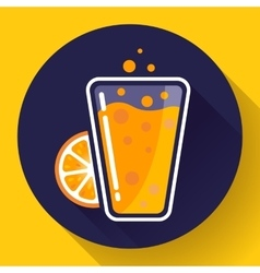 Flat ice tea drink icon orange juice glass vector