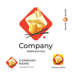 Asian traditional food logo modern identity vector