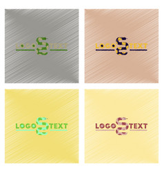 Assembly flat shading style icons snake logo vector