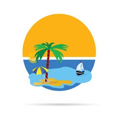 beach with palm tree vector image