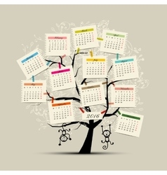 Calendar tree design 2016 with monkey symbol of vector image