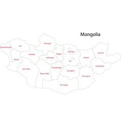 Contour Mongolia map vector image vector image