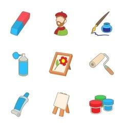 Creativity art icons set cartoon style vector
