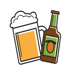Glass and bottle of beer vector