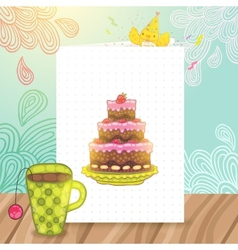 Happy birthday postcard with cake and cup of tea vector