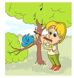 Happy Boy Playing On Flute a Glade vector image vector image