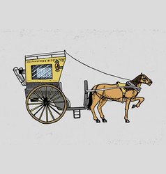 Horse-drawn carriage or coach travel vector