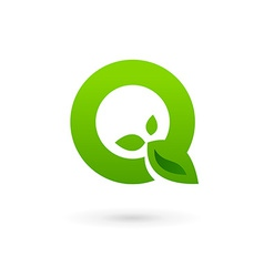 Letter q eco leaves logo icon design template vector