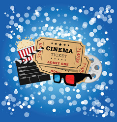 Movie icon set on blue background vector