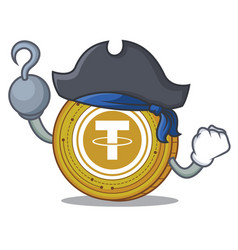 Pirate tether coin character cartoon vector