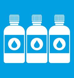 Printer ink bottles icon white vector