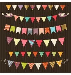 Retro bunting and garland set vector