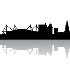 Silhouette of cardiff uk vector