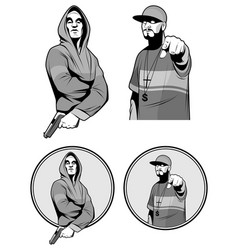 two gangster rapper vector image