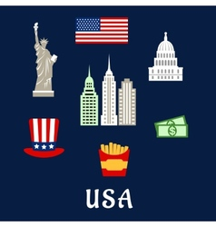 USA famous architecture and culture symbols vector image