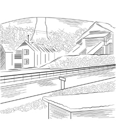 Countryside with the mountain houses and road vector