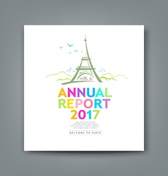 Cover new annual report colorful eiffel tower vector