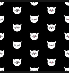 Tile pattern with white cats on black background vector