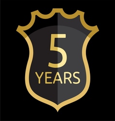 Golden shield 5 years vector image
