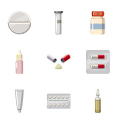 Medical preparations icons set cartoon style vector
