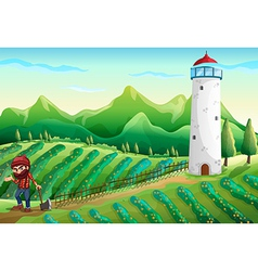 A farm with a lumberjack and a tower vector image
