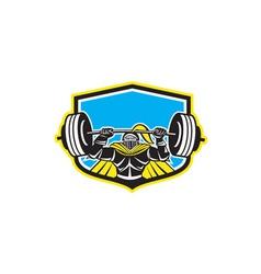Black Knight Lifting Barbell Front Shield Retro vector image