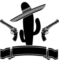Mexican cactus and two pistols vector